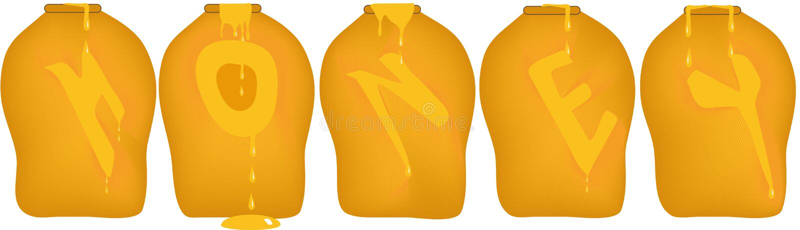 Honey Pots. Five honey pots or jars, oozing and dripping the word Honey a letter at a time stock illustration