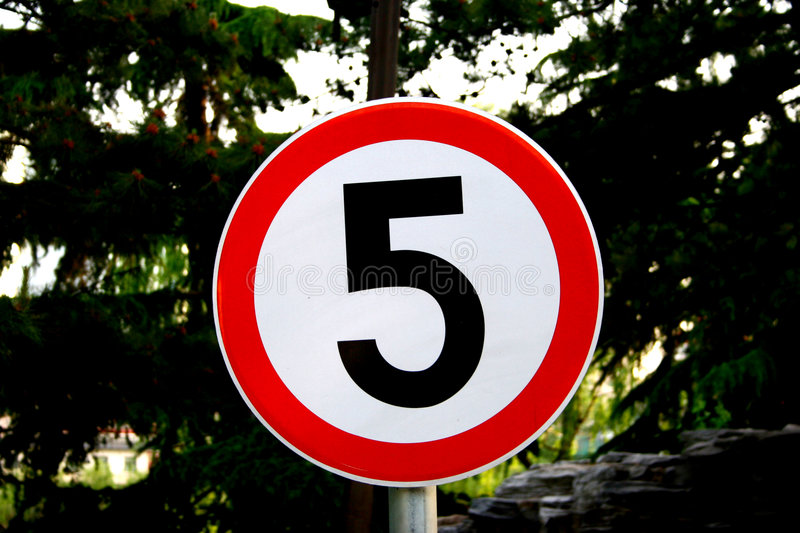 Five icon board. Five km limited icon board royalty free stock image
