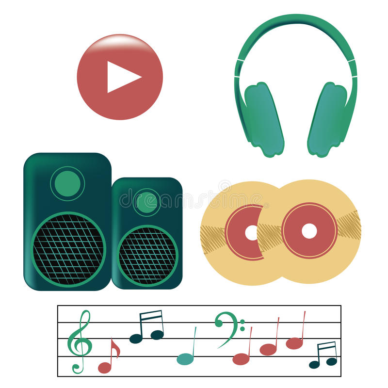 Five icons of music vector illustration