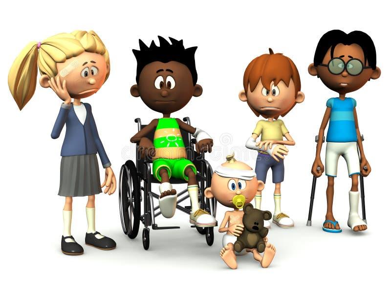 Five injured cartoon kids. stock illustration