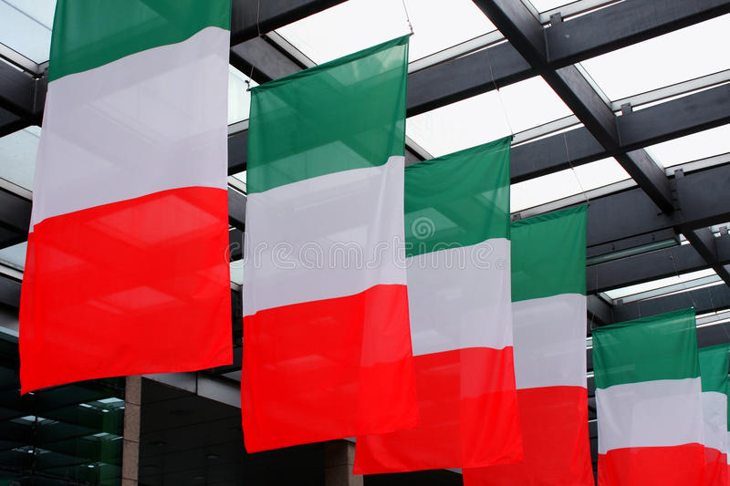 Five italian flags wave in royalty free illustration