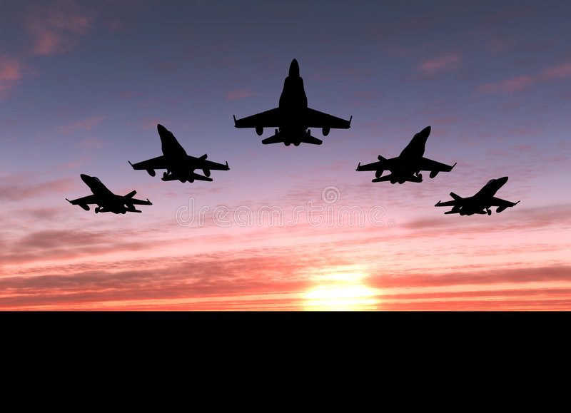 Five jets royalty free stock photo
