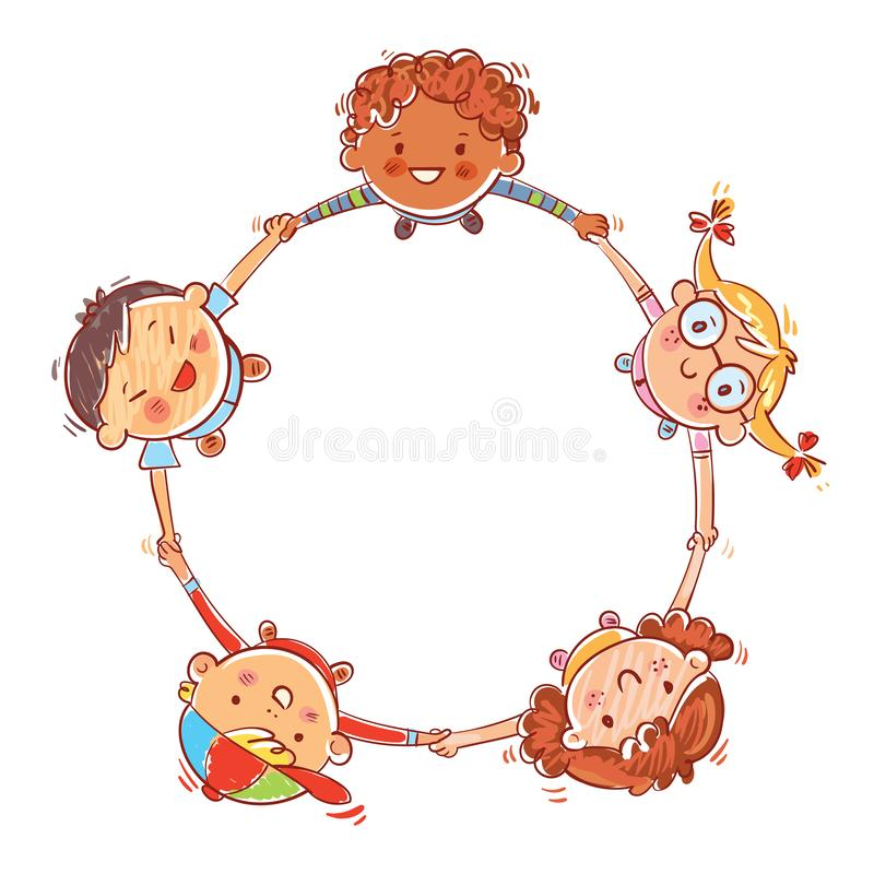 Five kids joining hands to form a circle. Multinational group of children. Five kids joining hands to form a circle. Hand drawing. Template for advertising royalty free illustration