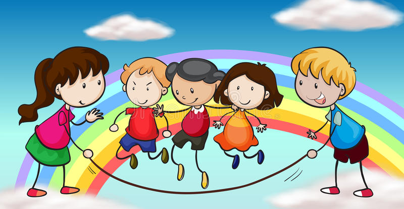 Five kids playing in front of a rainbow royalty free illustration