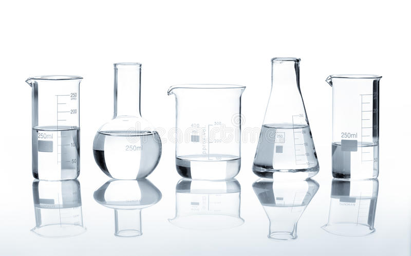 Download Five Laboratory Flasks With A Clear Liquid Royalty Free Stock Photo - Image: 25919065