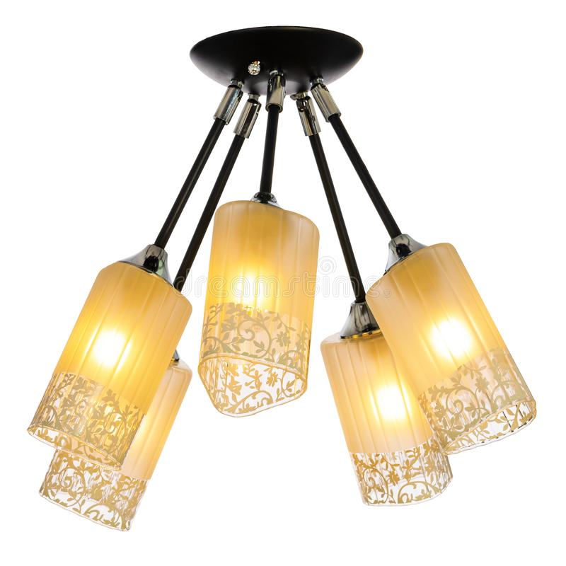 Five-lamp chandelier with five adjustable shades. Ceiling lamp isolated on white background stock photography