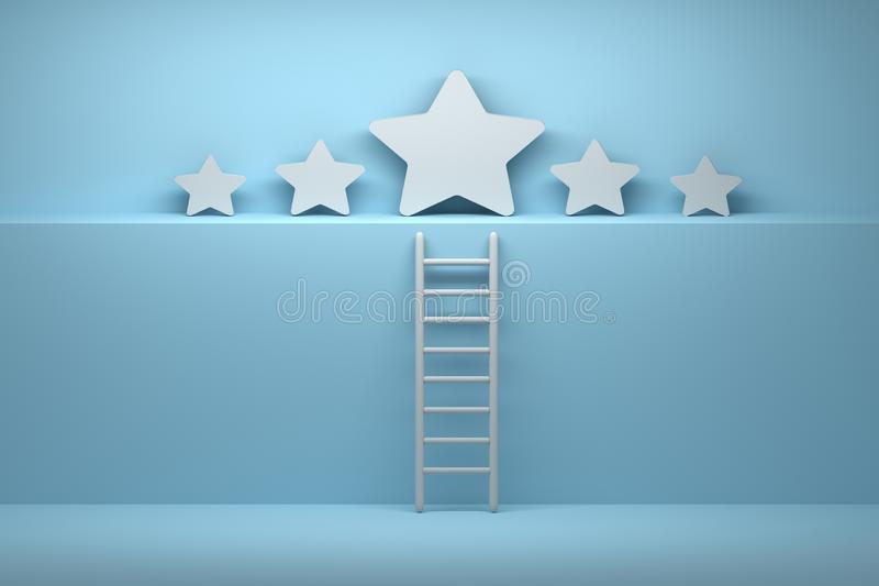 Success concept. Five stars with ladder in blue white colors. Five large white stars standing on a high shelf with a ladder symbolizing climbing to quality stock illustration