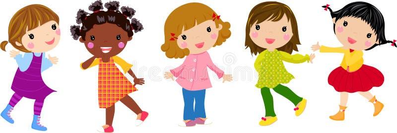 Five little girls royalty free illustration