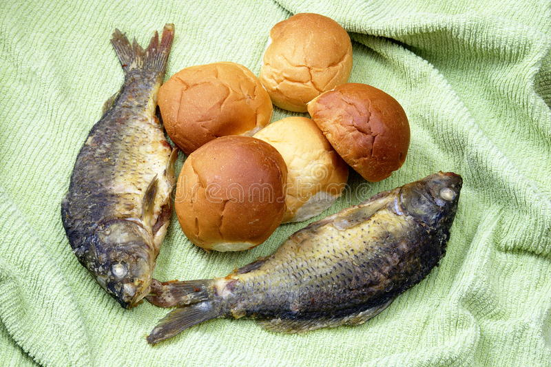 Five loaves and the two fishes stock image image of for Two fish five loaves