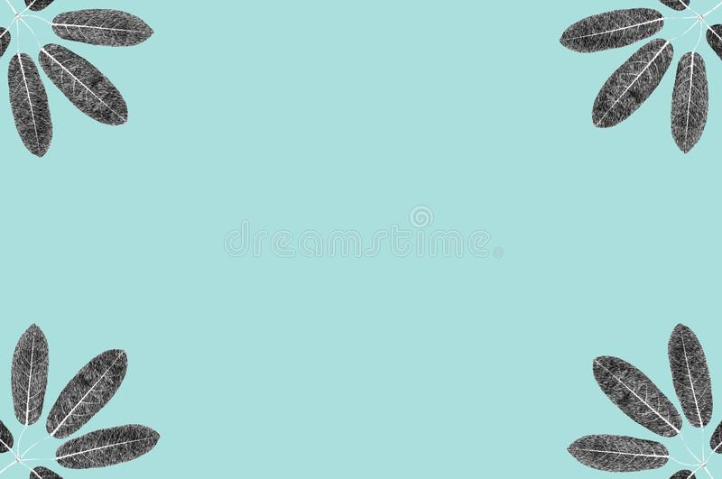 Five lobes leaves black and white skecth illustrate graphic background for design work stock images