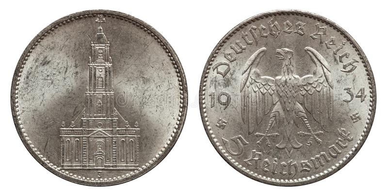 Five mark coin silver germany 1934 stock images