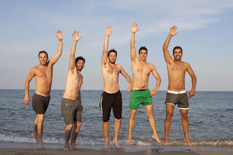 Five men having fun on the beach royalty free stock photo