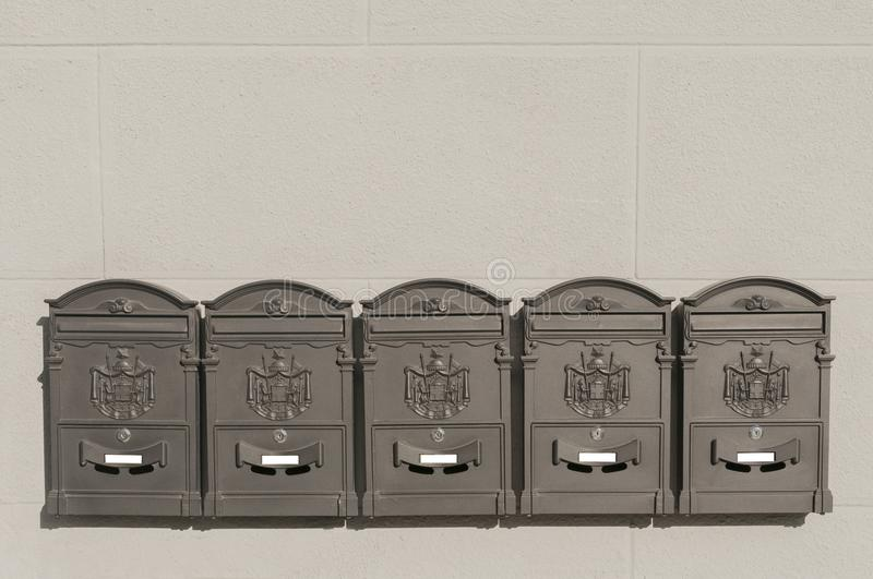 Five Metal Mailboxes On Old Italian Building Stock Photo ...