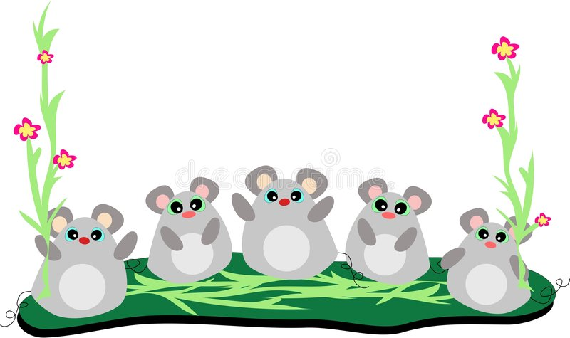 Five Mice in a Row with Stalks of Flowers vector illustration