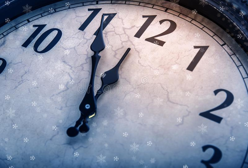 Retro clock with five minutes before twelve. stock illustration