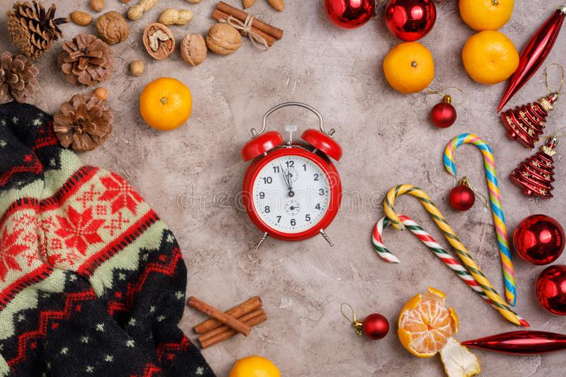 Five minutes to new year. Cozy Christmas background. stock photography