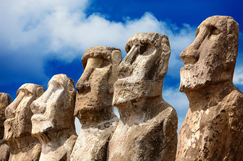 Five moais in bright sunshine in Easter Island stock photos