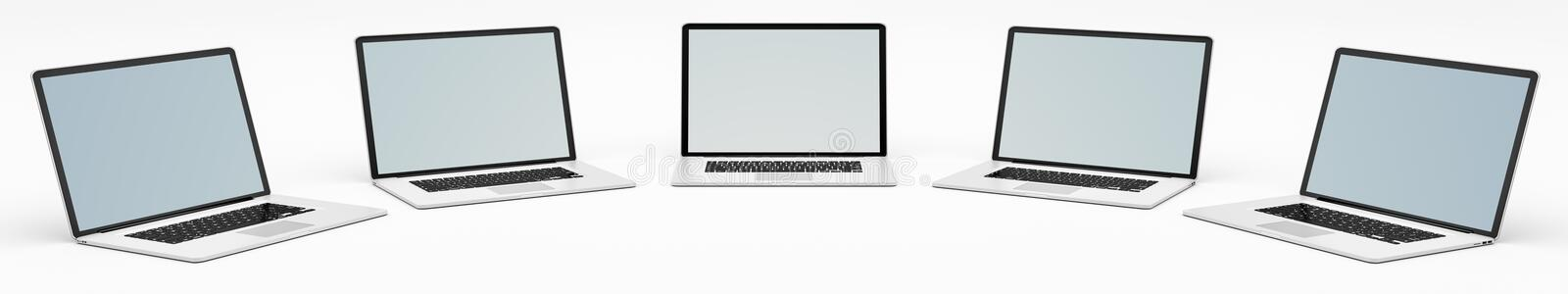 Five modern digital silver and black laptop 3D rendering. Five modern digital silver and black laptop on white background 3D rendering stock illustration