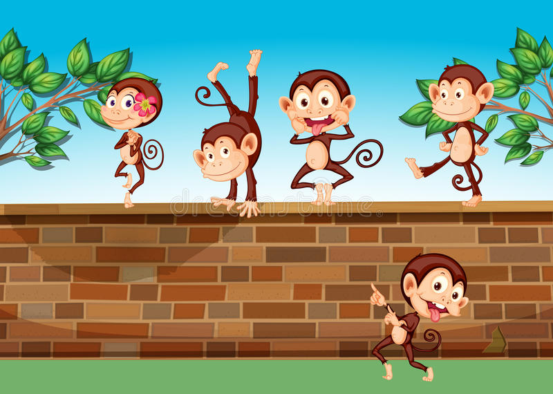 Five monkeys playing at the fence royalty free illustration