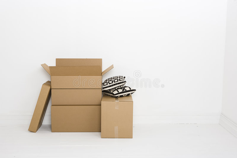 Five moving boxes royalty free stock photos