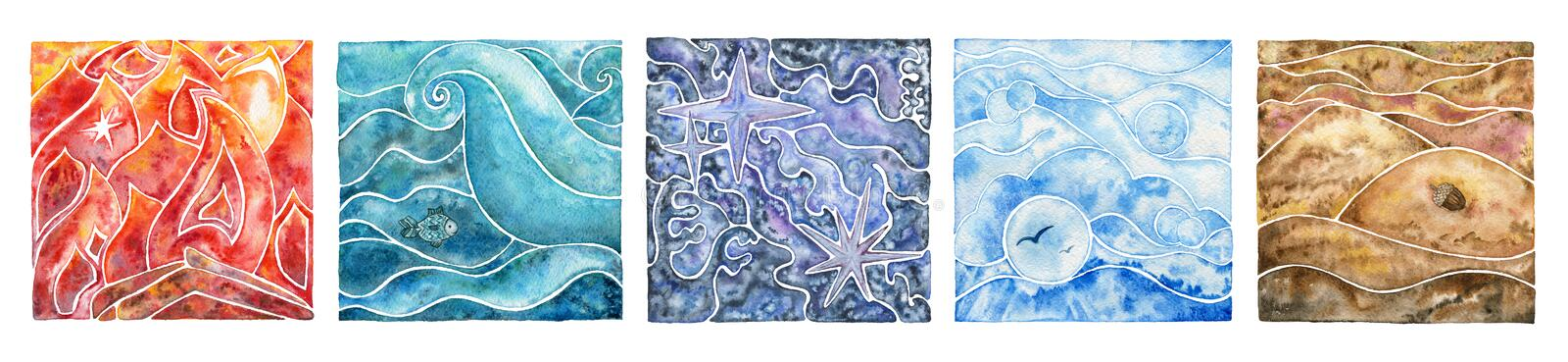 Five natural elements: fire, water, ether, air and earth. Abstract mosaic composition with natural elements. royalty free illustration