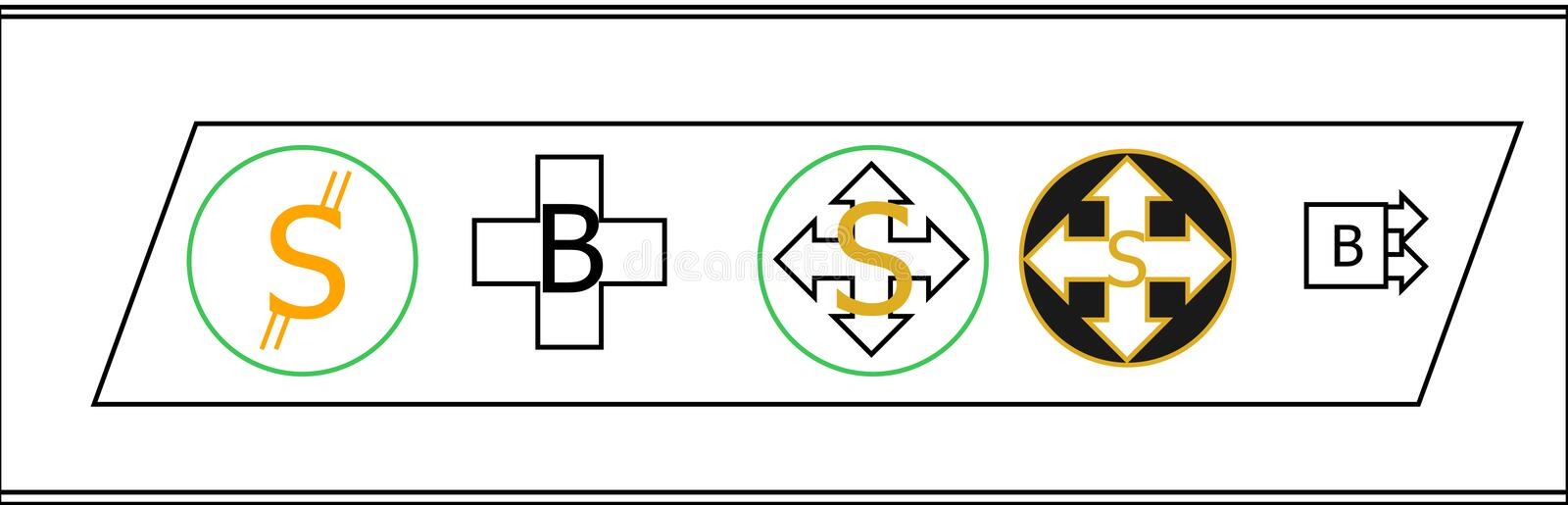 Five new cryptocurrency coin logo royalty free stock images