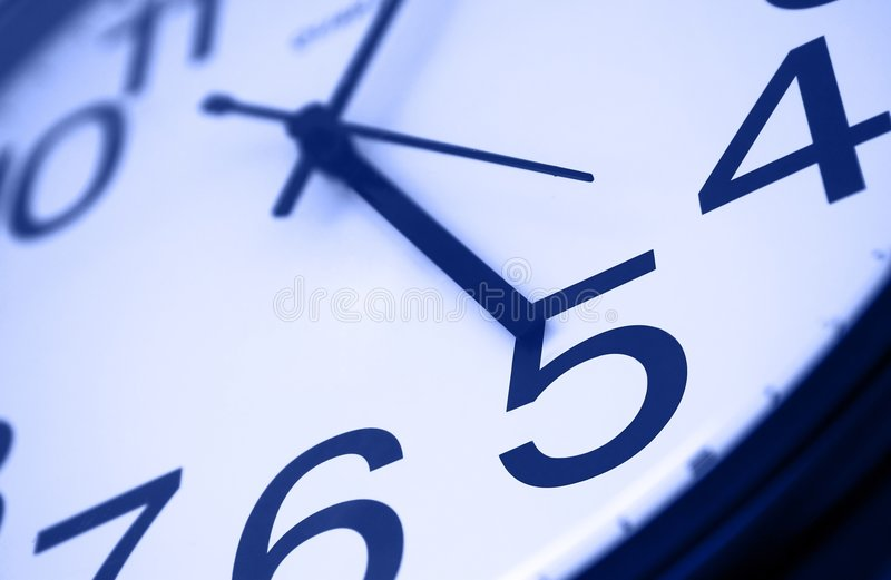 Five o'clock - blue stock images