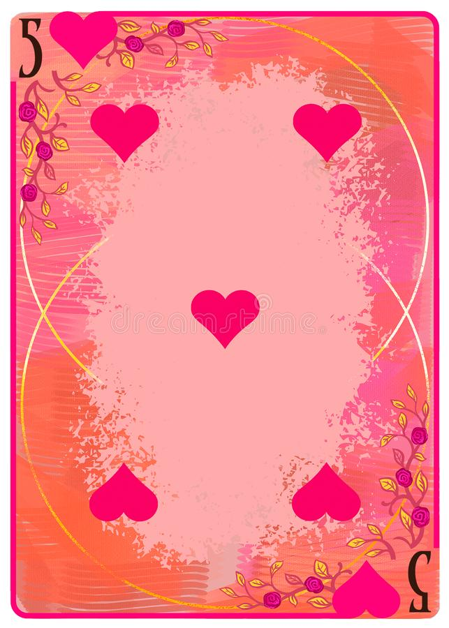 Free Five Of Hearts Playing Card. Unique Hand Drawn Pocker Card. One Of 52 Cards In French Card Deck, English Or Anglo-American Pattern Stock Photo - 159544920