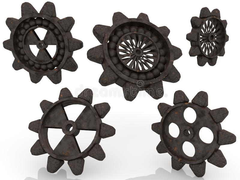 Five,old rusty gears on white background vector illustration
