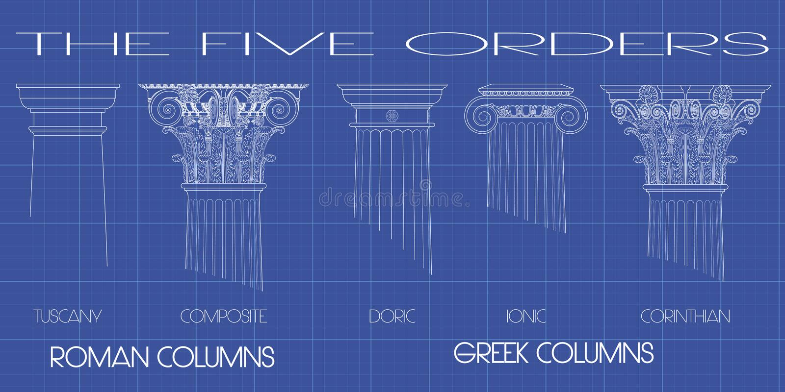 The five orders. Greek and roman columns of the five orders on tecnic background vector illustration