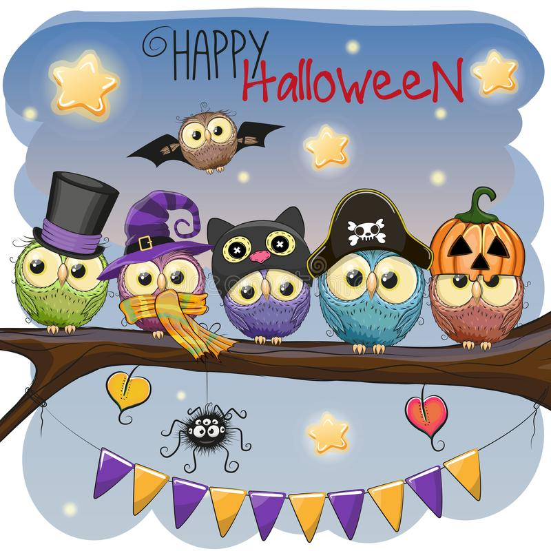 Five owls on the branch. Halloween card Five owls on the branch vector illustration