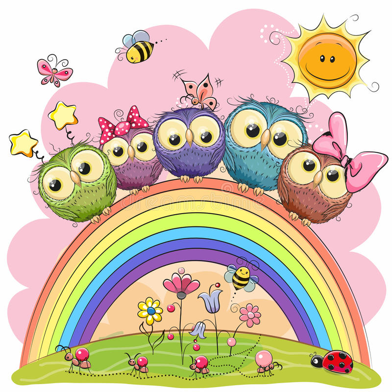 Free Five Owls On The Rainbow Stock Images - 92908014