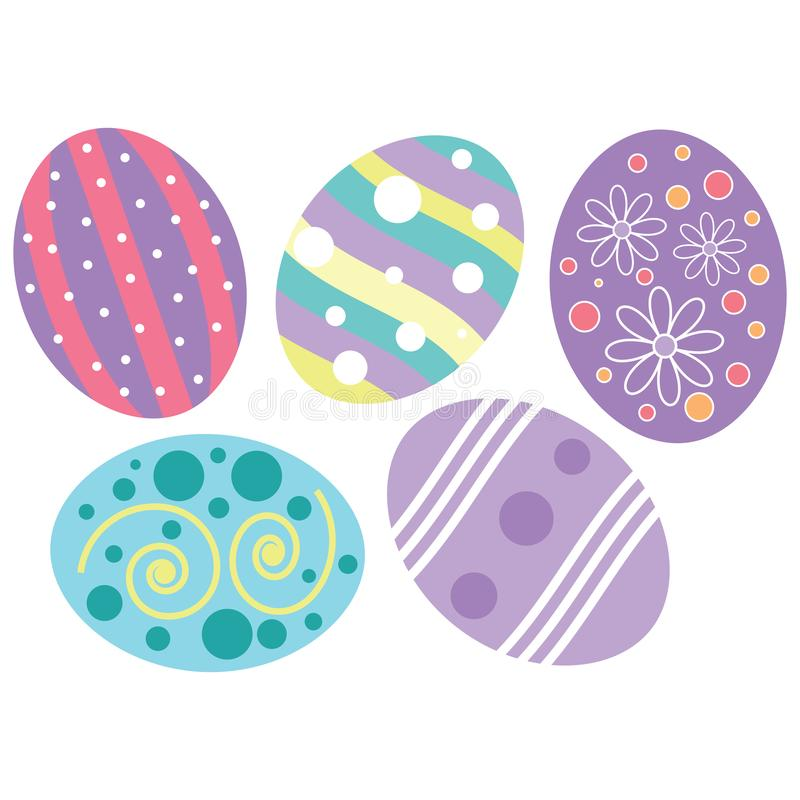 Decorated easter eggs with pastel colored designs stock illustration