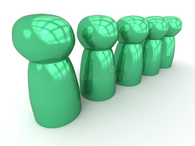 Download Five Pawn Human Simple Figures Lined Up Stock Illustration - Image: 32819687