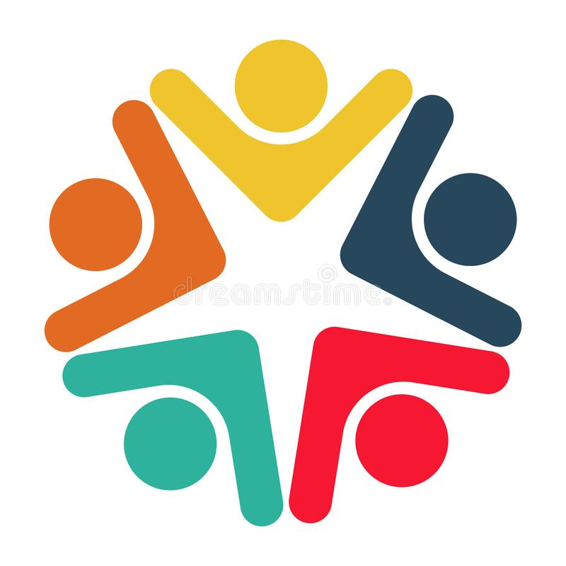 Five people in a circle holding hands.The summit workers are meeting in the same power room. vector illustration