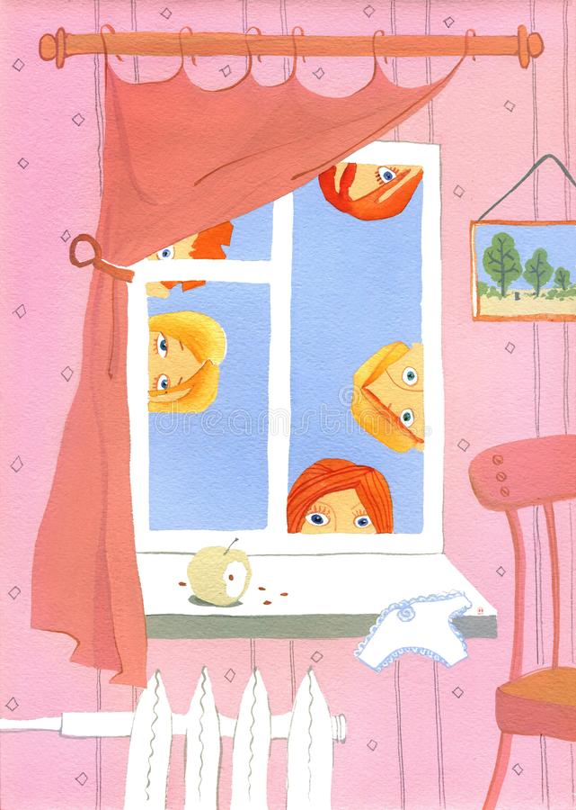 Spyind, Five people look in the pink room stock illustration