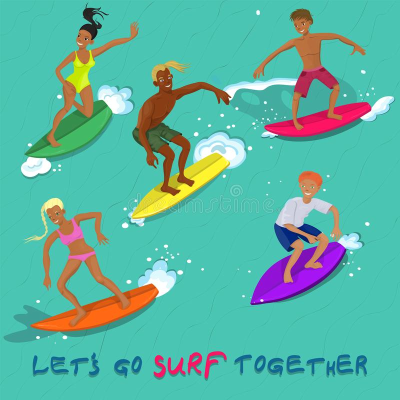 Five people surfing on a wave vector image royalty free illustration