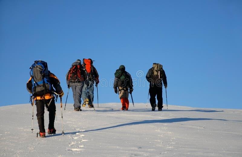 Five people trekking royalty free stock photos