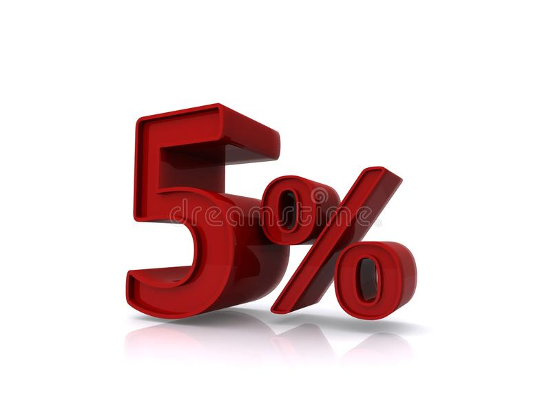 Five percent. Illustration in 3D of five percent in red number and symbol isolated on white background stock illustration