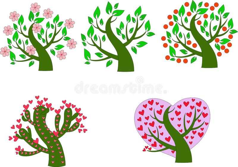 Five perfect green trees with leaves, flowers, hearts royalty free illustration