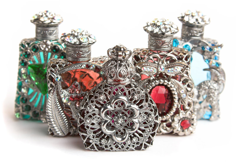 Download Five perfume bottles stock image. Image of background - 1423679