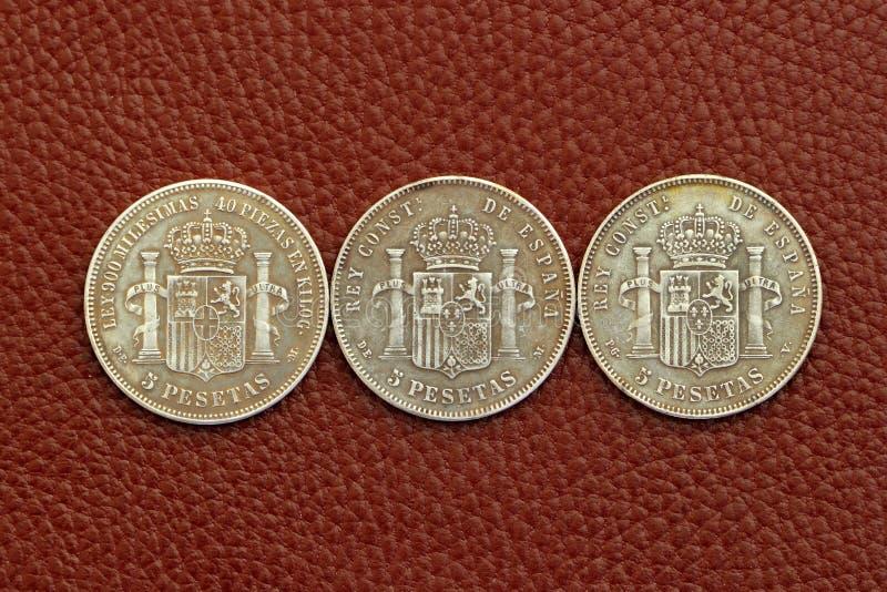 Five Pesetas Spain Old Coins Stock Photo