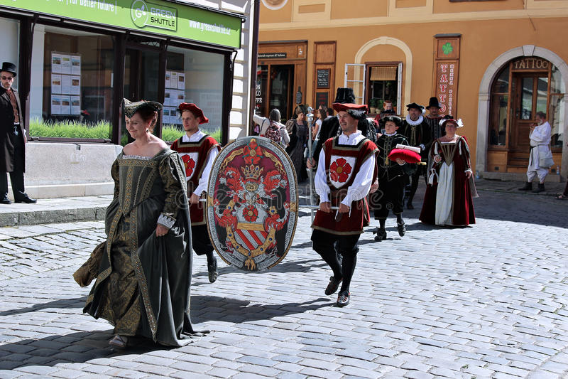 Five-petalled Rose Festival on bystreet in Cesky Krumlov stock photos