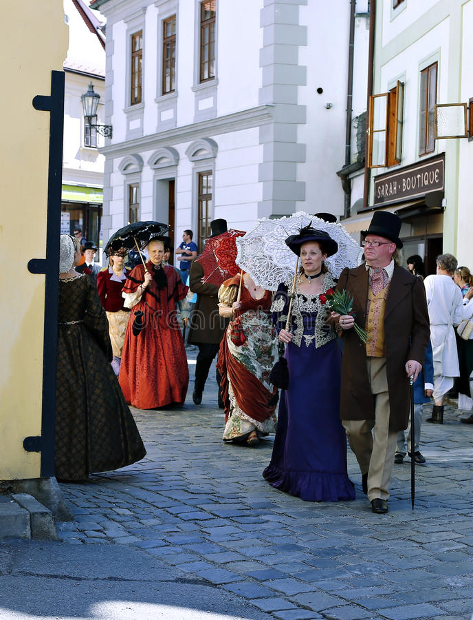 Five-petalled Rose Festival on bystreet in Cesky Krumlov stock photos