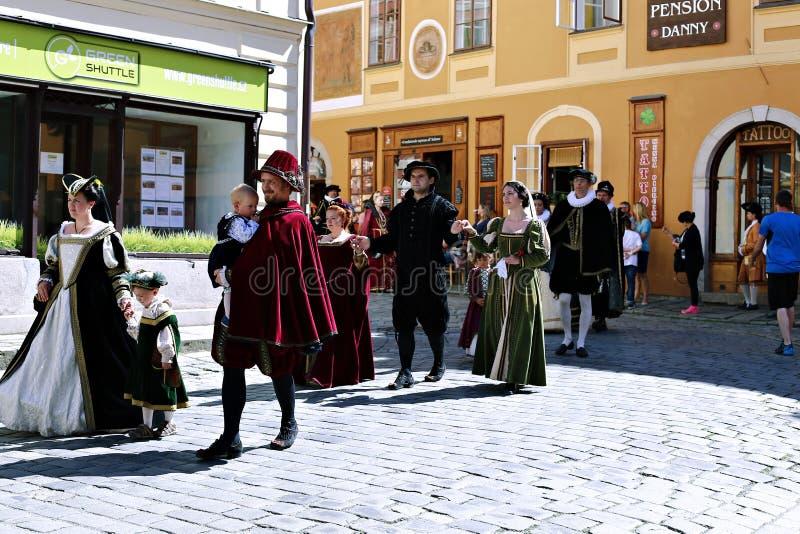 Five-petalled Rose Festival on bystreet in Cesky Krumlov, Czech royalty free stock images
