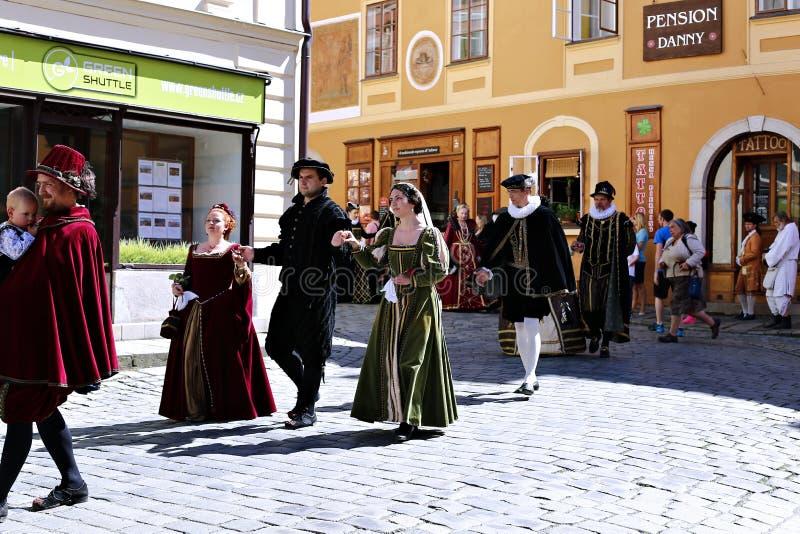 Five-petalled Rose Festival on bystreet in Cesky Krumlov royalty free stock photos