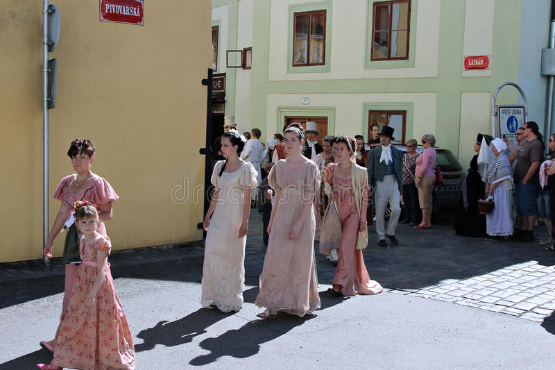 Five-petalled Rose Festival in Cesky Krumlov in the Czech Republic stock image