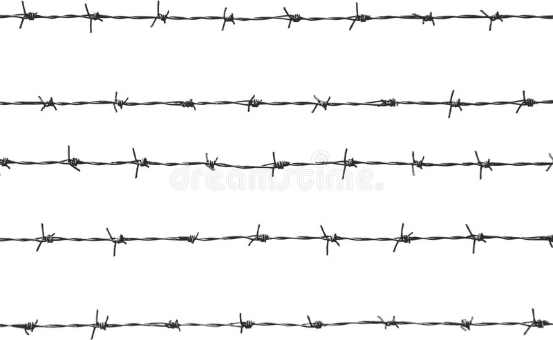 Five pieces of barbed wire vector illustration
