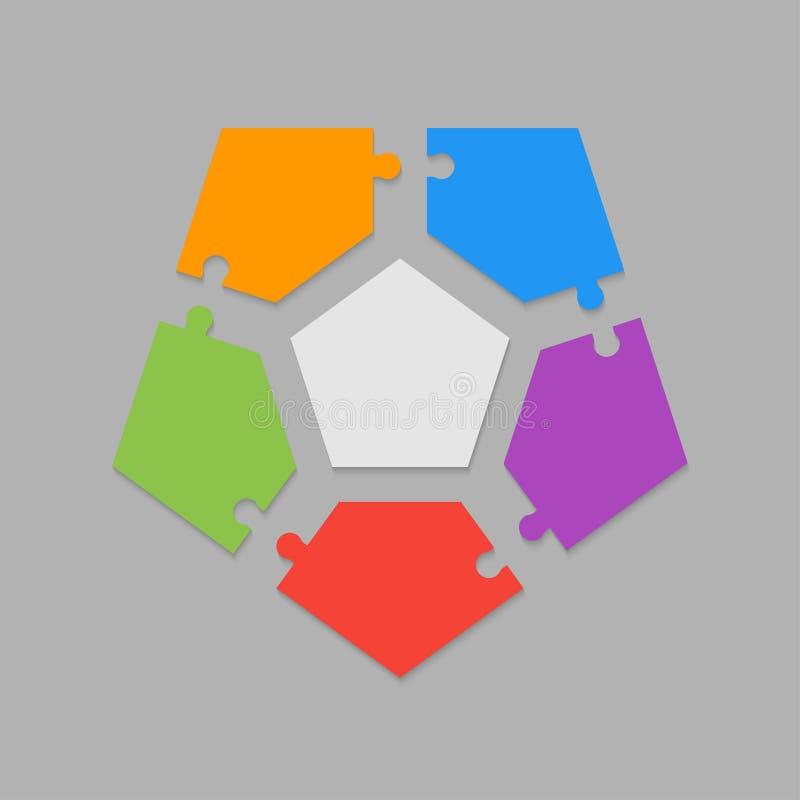 Five pieces puzzle pentagon diagram info graphic. Five pieces puzzle pentagon diagram. Pentagons business presentation infographic. 5 steps, parts, pieces of vector illustration