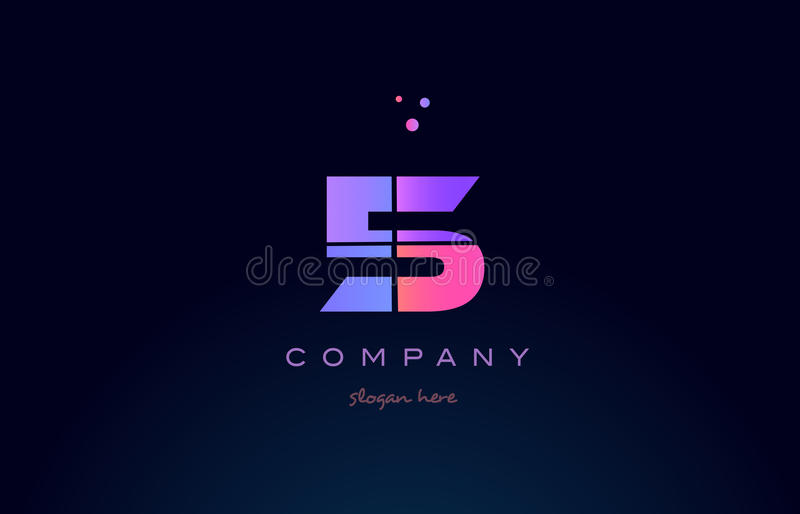 5 five pink magenta purple number digit numeral logo icon. 5 five pink blue purple number digit numeral dots creative company logo icon design template royalty free illustration